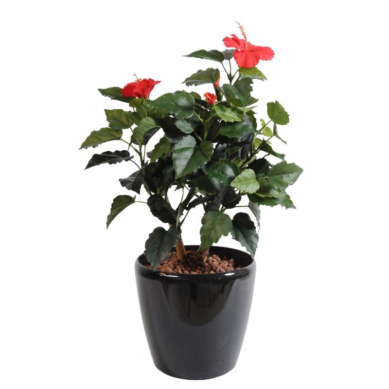Hibiscus artificiel rouge ou jaune for Hibiscus exterieur rouge