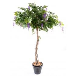 Glycine Round artificielle de 235 cm de hauteur, tronc en bois naturel et fleurs mauves