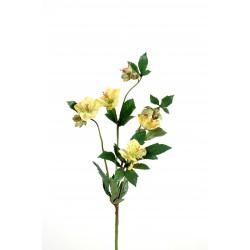 Rose sauvage artificielle (hellebore) jaune tige de 40 cm de hauteur