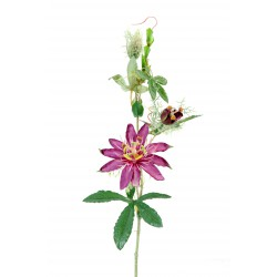 Fleur Passion artificielle en tige de couleur violet mesurant 45 cm de hauteur