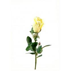 Rose Joey Bouton ouvert artificielle en tige 67 cm et 5 cm de diamètre Crème