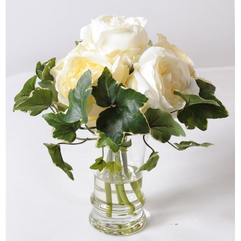 bouquet de roses blanches dans un vase en verre 31 cm de. Black Bedroom Furniture Sets. Home Design Ideas