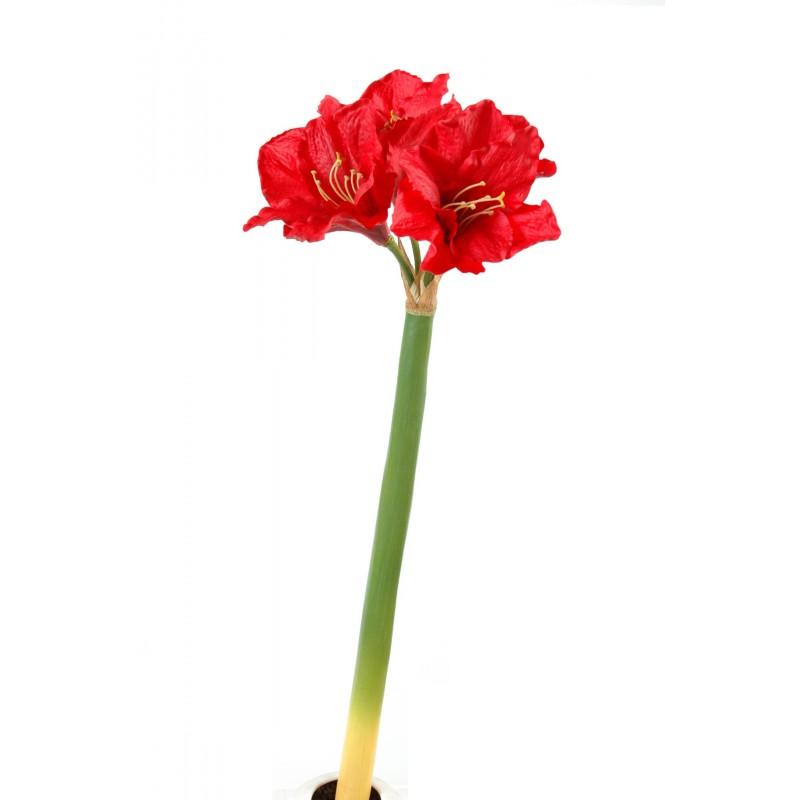 Amaryllis artificiel en tige de 80 cm de hauteur rouge ou for Amaryllis exterieur
