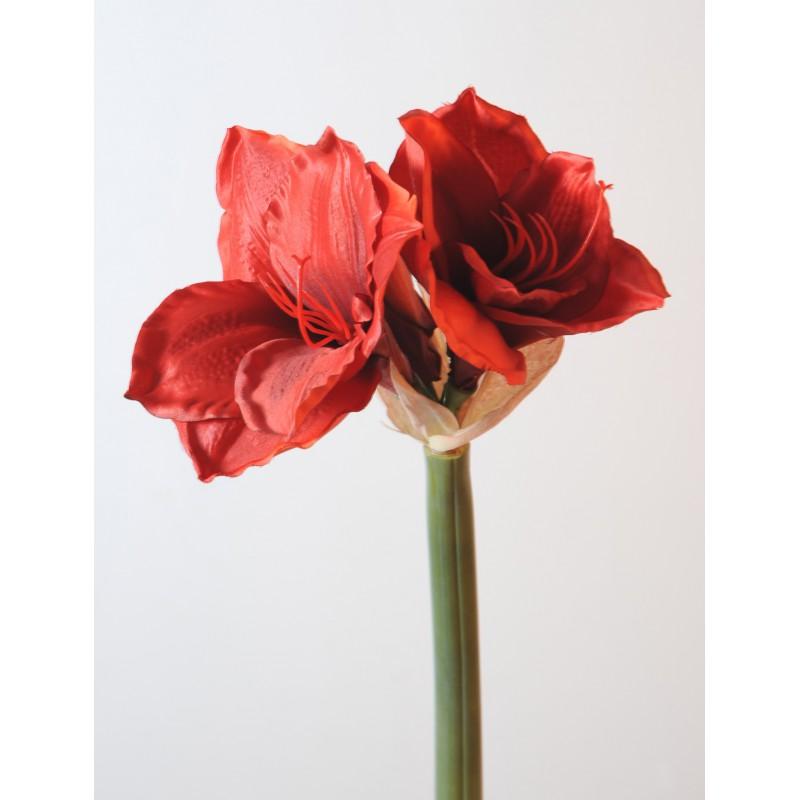 Tige amaryllis artificiel 75 cm avec 2 fleurs ouvertes for Amaryllis exterieur