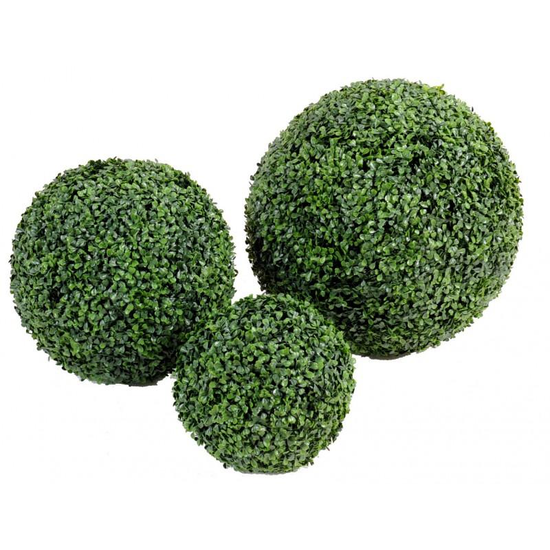 Buis boule artificielle en plastique vert pour ext rieur for Boule de buis artificiel pour exterieur