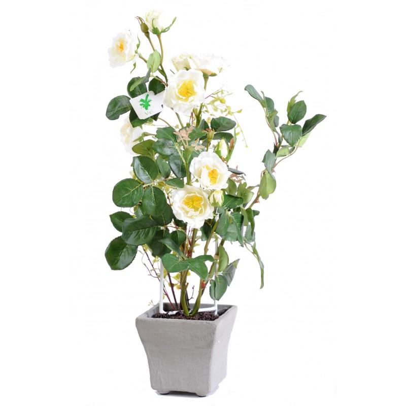 Rosier en pot artificiel de 50 cm de hauteur et 25 cm de largeur - Rosier en pot ...