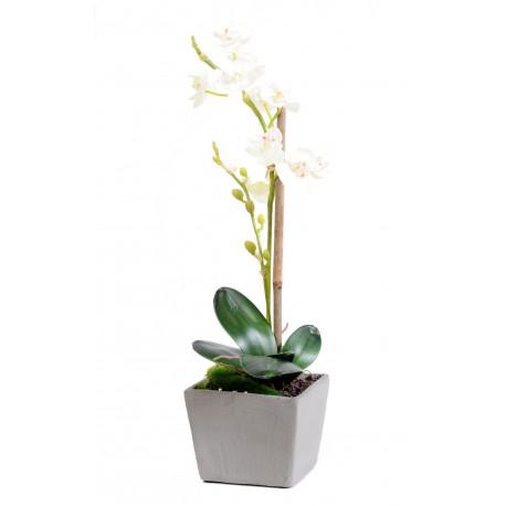 Orchidée phalaenopsis artificiel en pot d'une hauteur de 37 cm Blanc