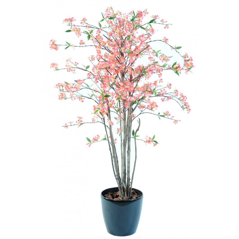 Cerisier artificiel fleur new hauteur 150 cm rose ou blanc for Comarbuste fruitier en pot