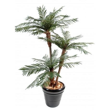 Palmier 3 troncs New artificiel en bois naturel et fibre de coco