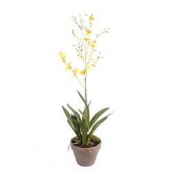 Orchidée Dancing Lady artificielle de 90 cm de hauteur fleurs jaunes